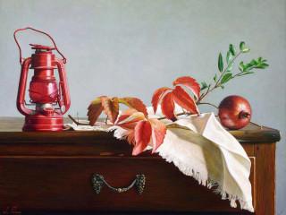 Still life with red lantern